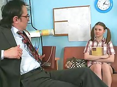 Ugly old teacher seduced coed in his office.