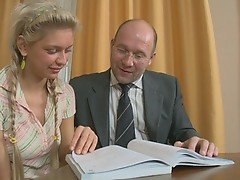 The hot fuck action with girl and old pervert.