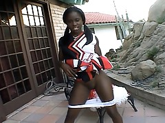 Ebony cheerleader cum-hole tease