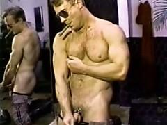 Bodybuilder cop masturbating