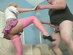 Golden-haired ballbusting