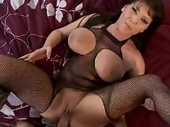 Corpulent bitch Claire Dames spreads her snatch wide and feels the thick cock in her