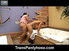 Sabrina shemale pantyhose sex action