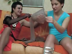 Renee and Sheila violent hose actionion