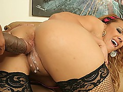 Pliant Ebony Cutie with great mambos gets a Cream pie pussy