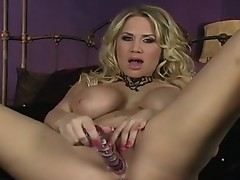 Burning hot Alanah Rae spoons out her pleasant slit with her favorite Toy