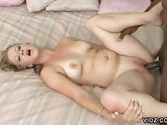 Black stallion fucks horny blonde bitch tight wet cum eating cunt