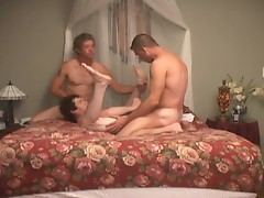 Gay threesome bareback action