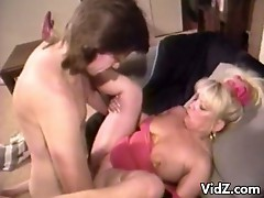 Filthy blonde mature slut gets pussy fucked hard by young cock