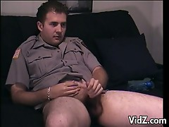 Police man jerks off his big hard cock