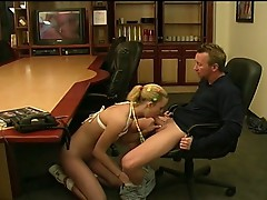 Hot blonde secretary fucked hard on the desk table