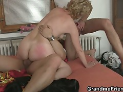 Horny grandma fucked by two horny dudes