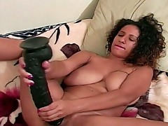 Michella playing with huge dildo and fucked by black cock