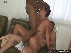 Young sexy studs fuck one horny granny in hot threesome