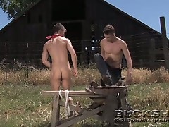 Super hot gay bodies colliding outdoors in hot ranch bareback fun