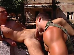 Gay soldiers fucking and sucking cock in the open air