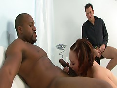 Husband watches white fuck big black cock