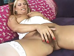 Horny blonde milf fucked on sofa