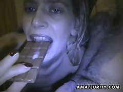 Amateur girlfriend homemade blowjob with cum