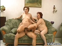 Horny amateur fatties share one young cock to suck and fuck