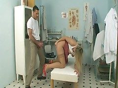 Horny doctor fucking naughty blonde slut in filthy clinic