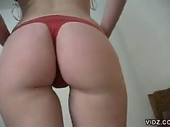 Brazilian blonde amateur boasts round and plump tush