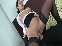 House maid gets paid to suck some cock