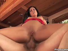 Luscious lopez sucks his cock before getting pounded