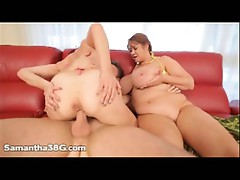 Fat milf samantha gets pounded in a threesome with rita daniels