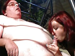Sexy girl shows old dick what she can best