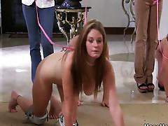 Naked sorority girls treated like dogs