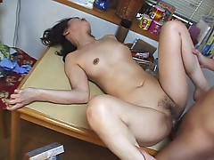 Hot mom gets laid on kitchen table