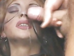 Cum on her silky veil