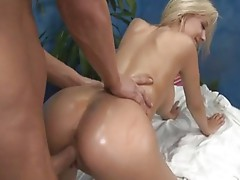Hot blonde gets a very special massage