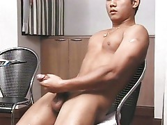 Hot Asian male wanking