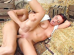 Passionate fucking in the hay