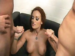 Milking two lucky cocks