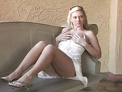 Alison Angel plays with her wet crack
