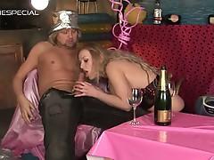 Blonde slut greedily sucks on a huge hard cock