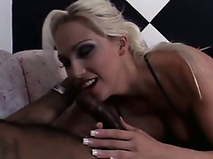 Blonde slut glad to have a black cock in her mouth and