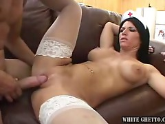 Monster tits brunette milf nurse opens wide to welcome big cock