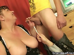 Fat mature european bitch takes two cocks
