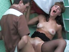 Girl gags on cock and cries