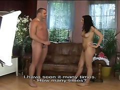 Brunette babe fucked by a big dick on the sofa