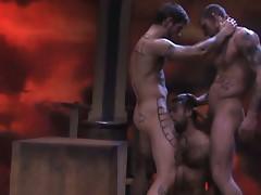 Super horny hot muscled gay studs nasty threesome barebacking fun
