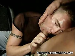 Steamy gay throat fucking with horny musled studs in hot club