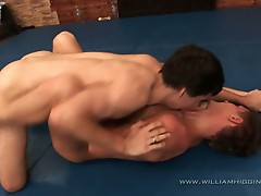 Wrestling big cock fuck action for this two gay guys