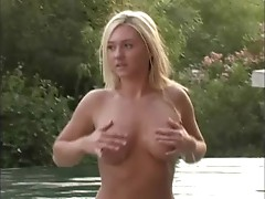 Alison Angel plays in the pool