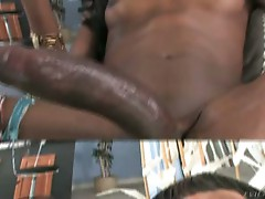 Nasty black tranny playing his huge cock and monster toy
