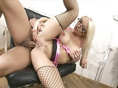 Stacy silver busty secretary in fishnets